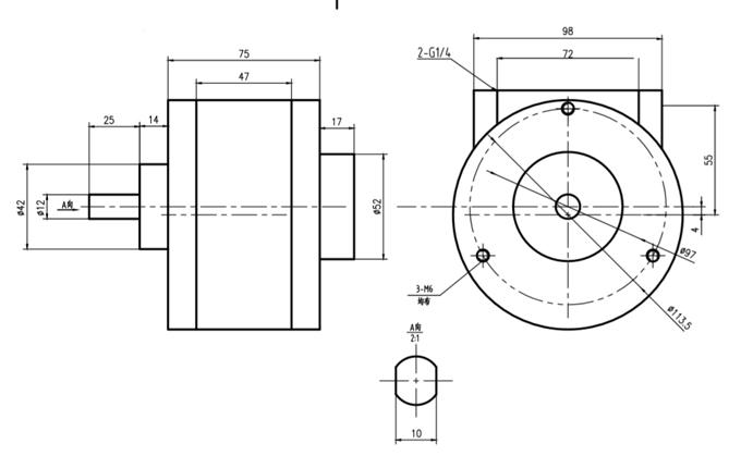 葉片式氣動馬達(5V)尺寸